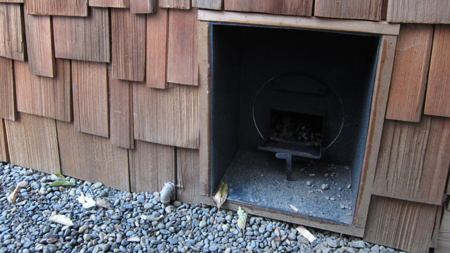A Couple Views Of The Chofu From The Outside. The Steel Box Was Custom  Fabricated To Inset The Stove To Allow Safe Chimney Clearances.